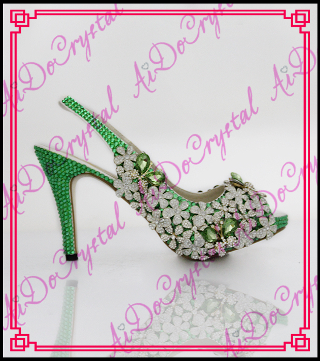 Aidocrystal 2016 fashion shoes woman peep toe sandals green glitter rhinestone flower high heels wedding dress shoes aidocrystal elegant peep toe shoes with detachable heels colorful rhinestone evening shoes with matching bags