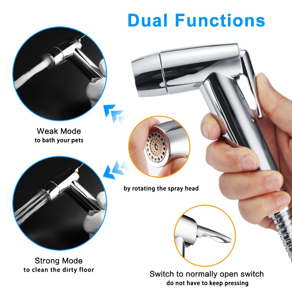 Dual Function 2 Sprayer(Stream/Jet) Hand Held Bidet Toilet Sprayer Shattaf Cloth Diaper Sprayer Bathroom Bidet Faucet - Chrome
