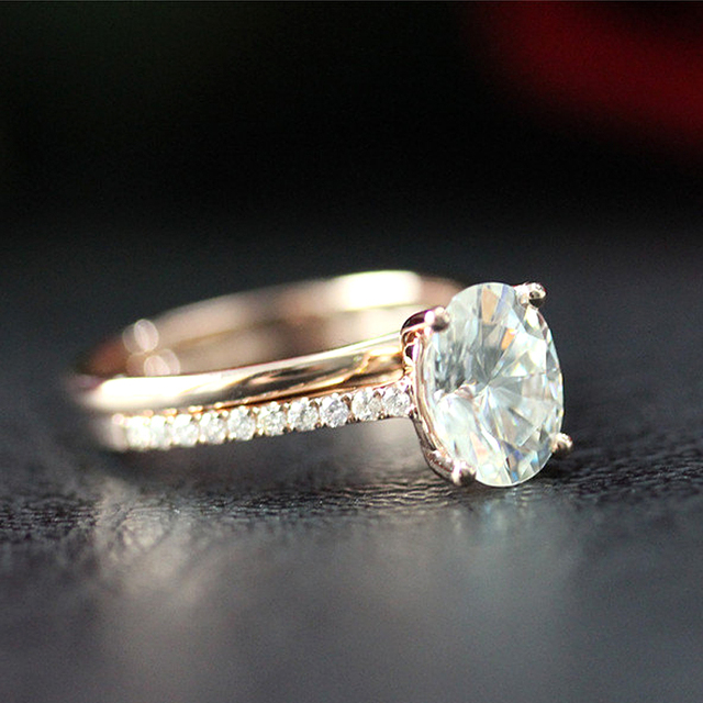 14K Rose Gold 6X8mm 1.5ct Carat Oval Brilliant Cut Moissanite Engagement Ring&Wedding Band Ring Set For Women 2