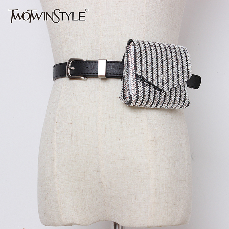 TWOTWINSTYLE Patchwork Mini Bag Belts For Women High Waist Vintage Dresses Accessories Belt Female Fashion New 2019 Summer