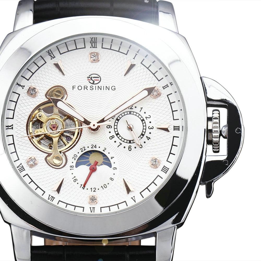 WINNER Top Brand Luxury Men Automatic Mechanical Watch Tourbillon Wrist Watch Crystal Dial with Luminous Hands Date Calendar winner mechanical watch luxury brand