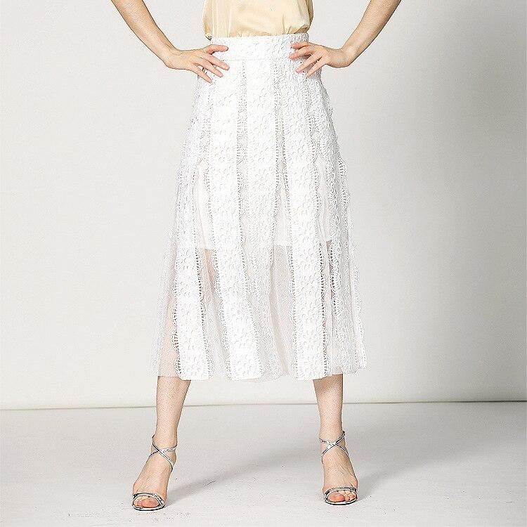 Diseño Solo Costura De Nuevo Elegante Falda Alta Blanco 85105 Xia Janila Chun 18 Calidad Encaje Método wqTz4xTCF