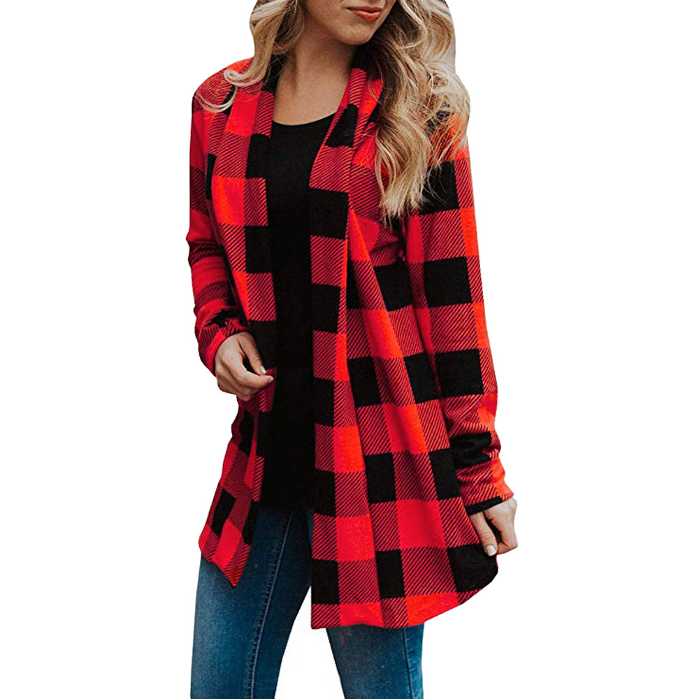 US $5.13 46% OFF|female buffalo plaid jacket woman Long Sleeve Cardigans v neck Fashion Open Front coat 2019 spring female Casual Streetwear in
