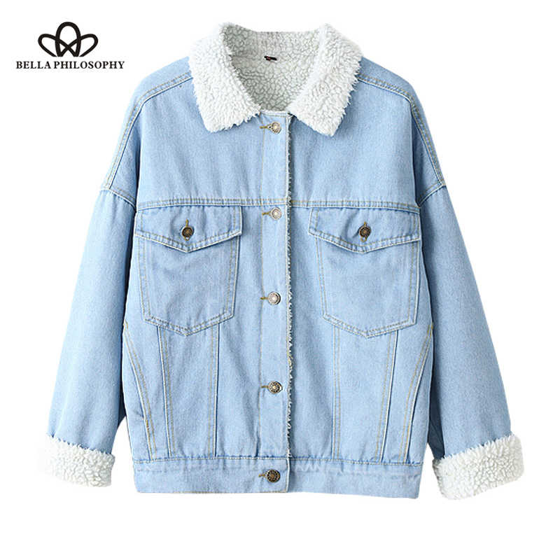 5944a0cda3 Bella Philosophy Winter Fur Denim Jacket Women Bomber Jacket Long Sleeve  Washed Blue Jeans Jacket Coat