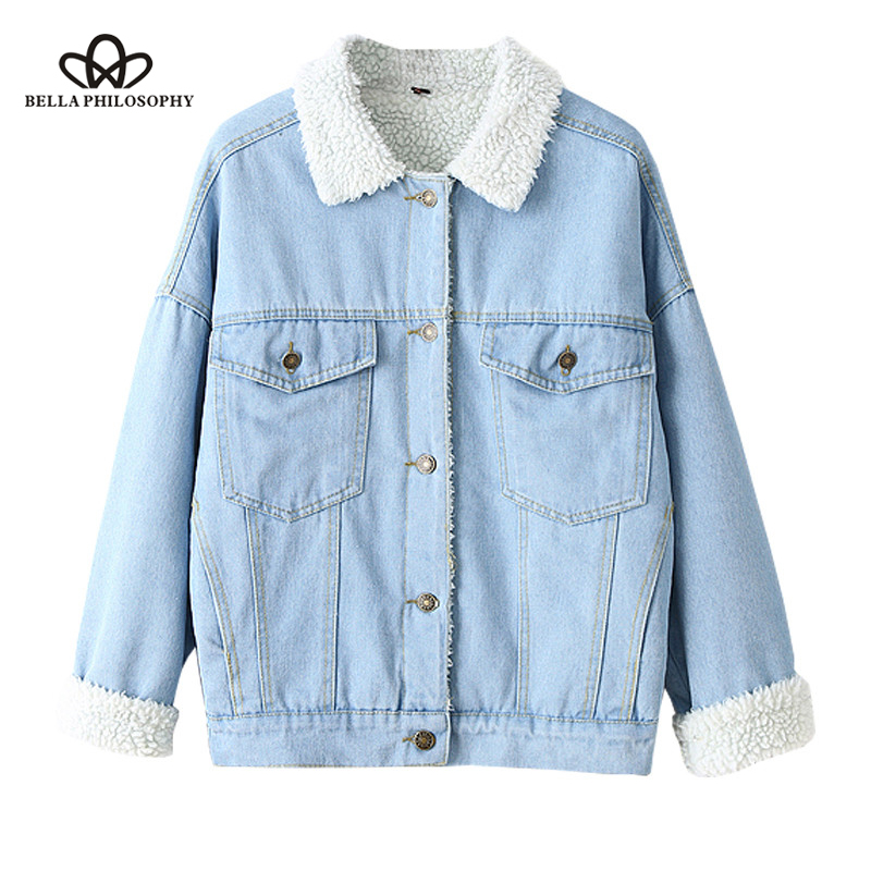 Bella Philosophy Winter Fur Denim Jacket Women Bomber Jacket Long Sleeve Washed Blue Jeans Jacket Coat Warm Lining Front Button