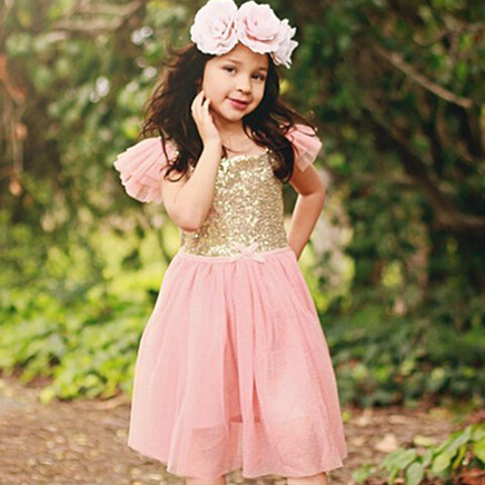2015 Summer Girls Christmas Dress Kids Clothes Sequin Petal Sleeve Party Cotton Lace Baby Girls Dress Toddler Girl Clothing