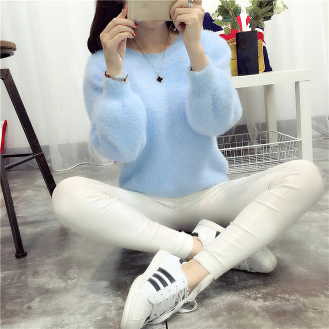 Pull Femme Pullover Women Sweaters And Pullovers 2017 Cashmere Sweater  knitted Korean Winter Warm Pink Sweater Jumper Mohair Fur 4ebd2e6e52bf