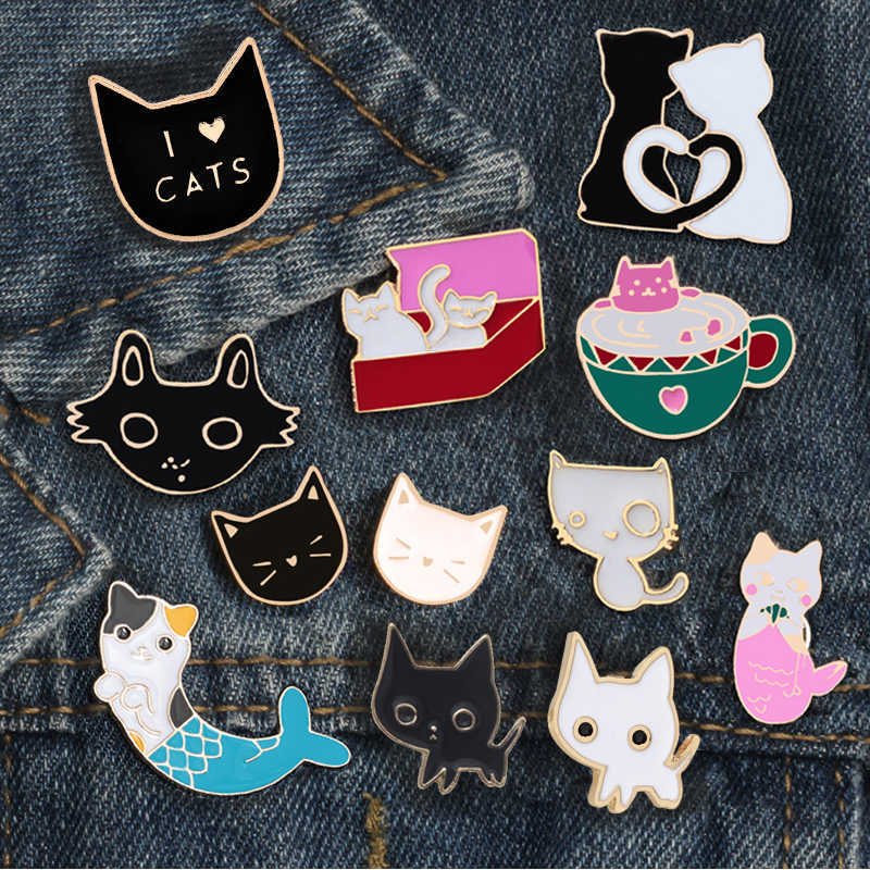 16 Style Cat Cute Enamel Pins Animal Jackets Coat Lapel Kitty Button Bag  Caring Badge Girl Lovers Brooches For Women Accessories