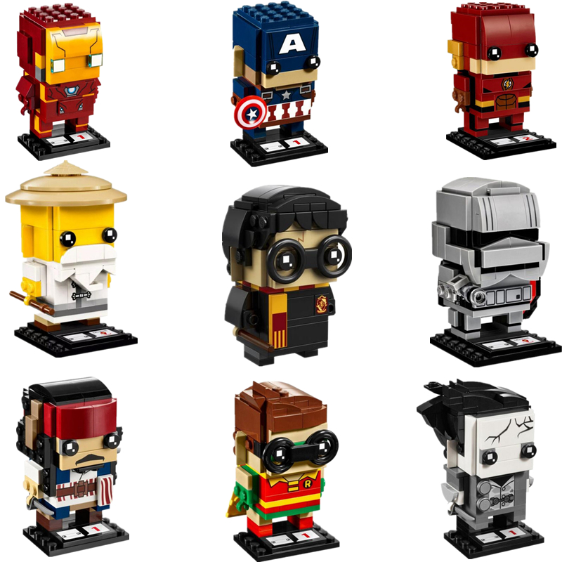 NEW Harri Potter Brickheadz Avengers Marvel Super Hero Captain Jack Ironman Heads Building Blocks Brick Legoinglys Kid Toys Gift 2017 hot compatible legoinglys marvel super hero avengers iron man mk series building blocks deformation armor brick toys gift
