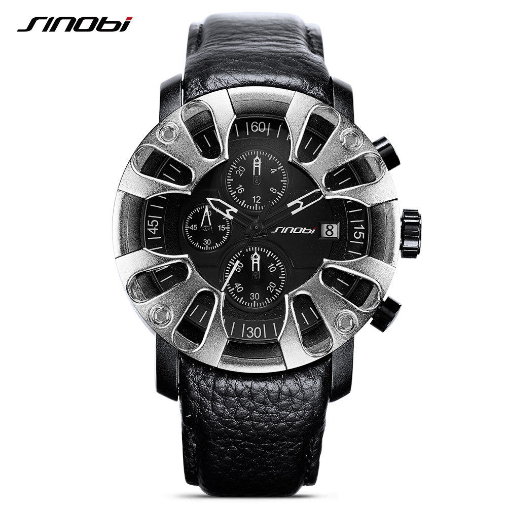 SINOBI Watch for Men Sports Quartz Watches With Gift Box Chronograph Luminous Fast Eagle Claw Brand Luxury relogio masculino 80cm chain rome retro double display hollow pocket watch fob watches men necklace quartz watch men s watches grandpa letter gift