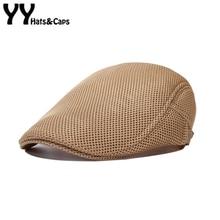 e2e2284c2ced5 Estilo británico clásico Hombre malla boinas Cap gorras boinas sombreros  transpirable Casquette casquillo Gorros Hombre vendimia