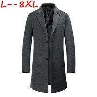 Большие размеры 10XL 8XL 6XL новый зимний стиль Мужчины шерстяное пальто мода досуг однобортный Тонкий Мужская Твердые ветровка пальто