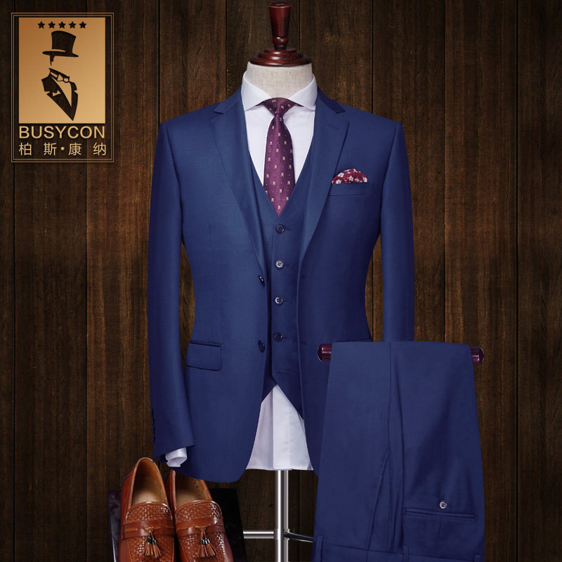 Busycon Wool Royal Blue Wedding Suits For Men Slim Fit