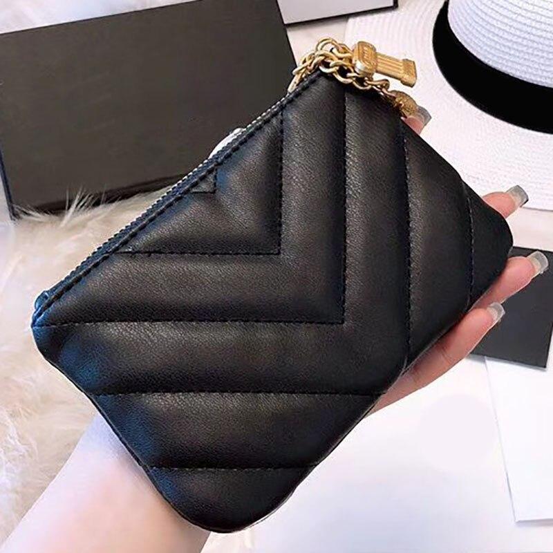 Women Genuine Leather Zipper Wallet V Pattern designer famous brands Female Card Purse Coin Pocket Soft Fashion Bag