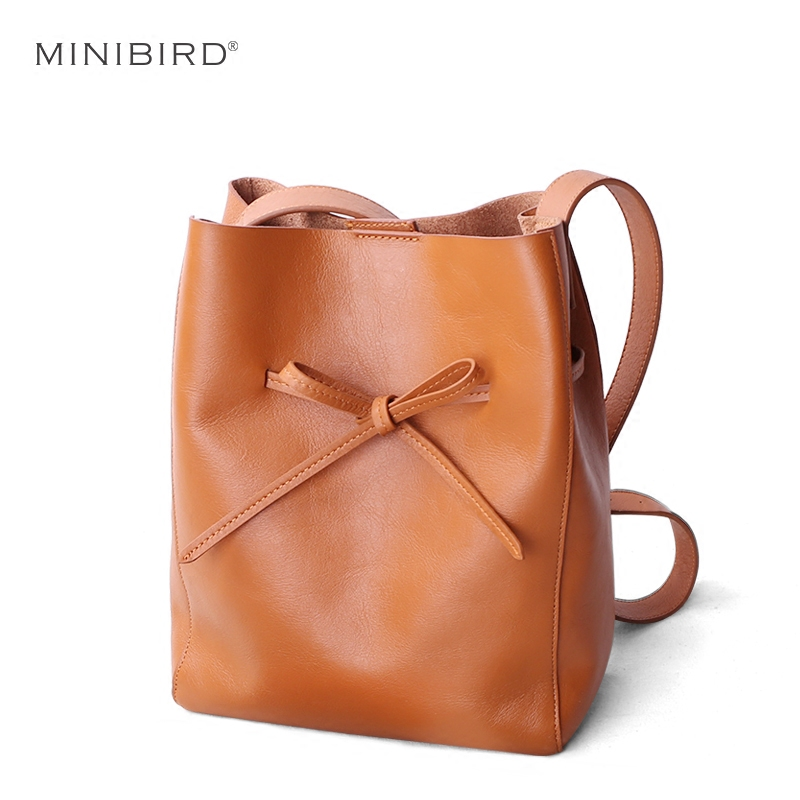Women Shoulder Bag Bucket Lady Cowhide Genuine Leather Handbag Female Simple Fashion Bow String Message Bag New Arrival 2018