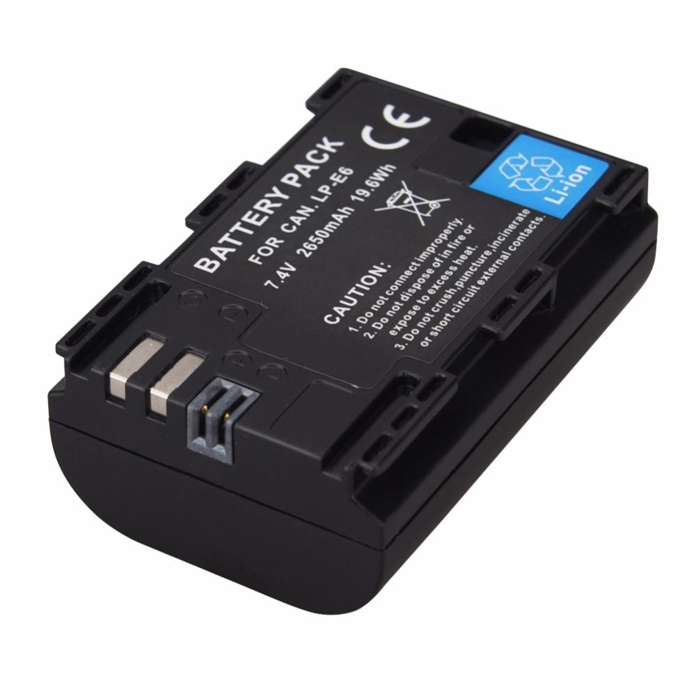 1 PCS 2650 mAh LP-E6 LP E6 Lpe6 Batterie Pour Canon EOS 5DS R 5D Mark II Mark III 6D 7D 60D 60Da 70D 80D DSLR EOS 5DS Bateria
