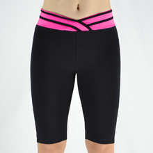 7 Colors Women Fitness Pants Elastic Stripe V Waist Sporting Pants Sexy Knee Length Leggings Short Skinny Workout Pants Trousers