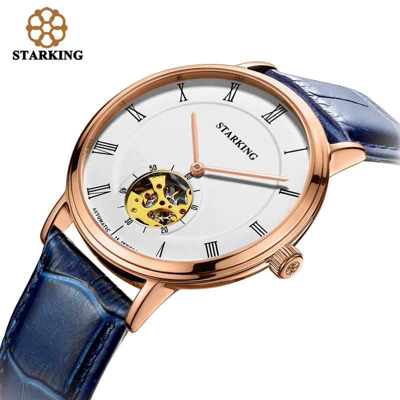 STARKING Men Skeleton Automatic Mechanical Watch Luxury 2017 New Arrival Genuine Leather Men Watch Waterproof wristwatch Relogio