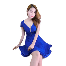 Sexy Mini Dress Europe Us Nightclub Girls V-neck Zippers Black Blue Patchwork Lace Loose Big Size Pleated Ball Grown Dresses