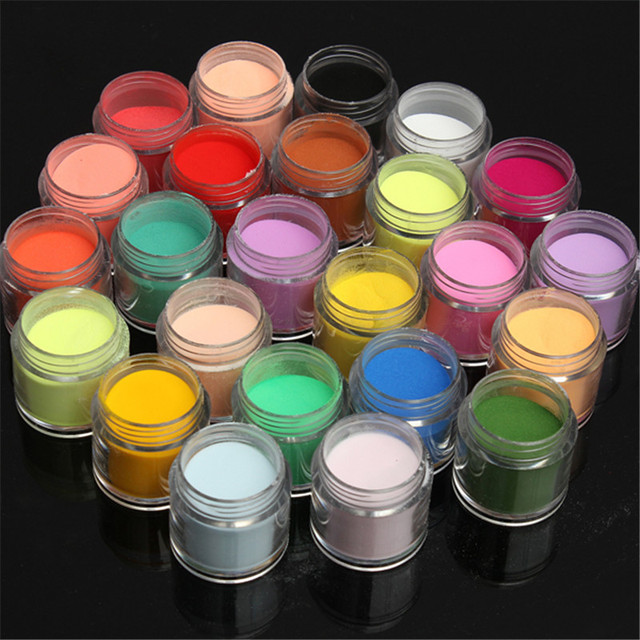 24 צבע ג 'מבו בסדר מבריק גליטר נייל אמנות ערכת אקריליק UV אבקת אבק עצה 3D DIY ציפורניים אמנות אבקה