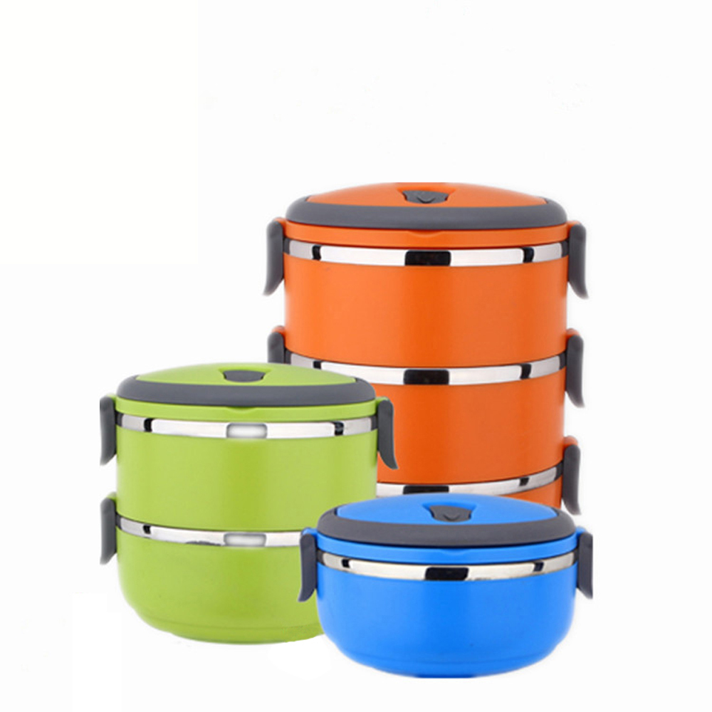 korean round shape portable food container stainless steel thermal insulated lunch box bento. Black Bedroom Furniture Sets. Home Design Ideas