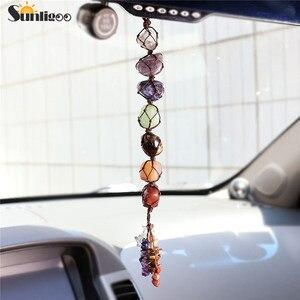 Image 1 - Sunligoo 7 Chakra Tumbled Gemstone Tassel Spiritual Meditation Hanging/Window/Feng Shui Ornament Reiki Stones Car/Home Decor