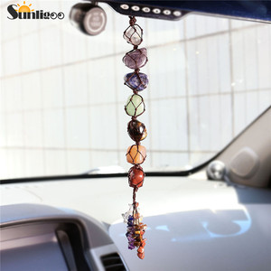 Image 1 - Sunligoo 7 Чакры, свисающие драгоценные камни, кисточка для духовной медитации, Висячие/оконные/Фэн шуй, декоративные камни для рейки, украшение для автомобиля/дома