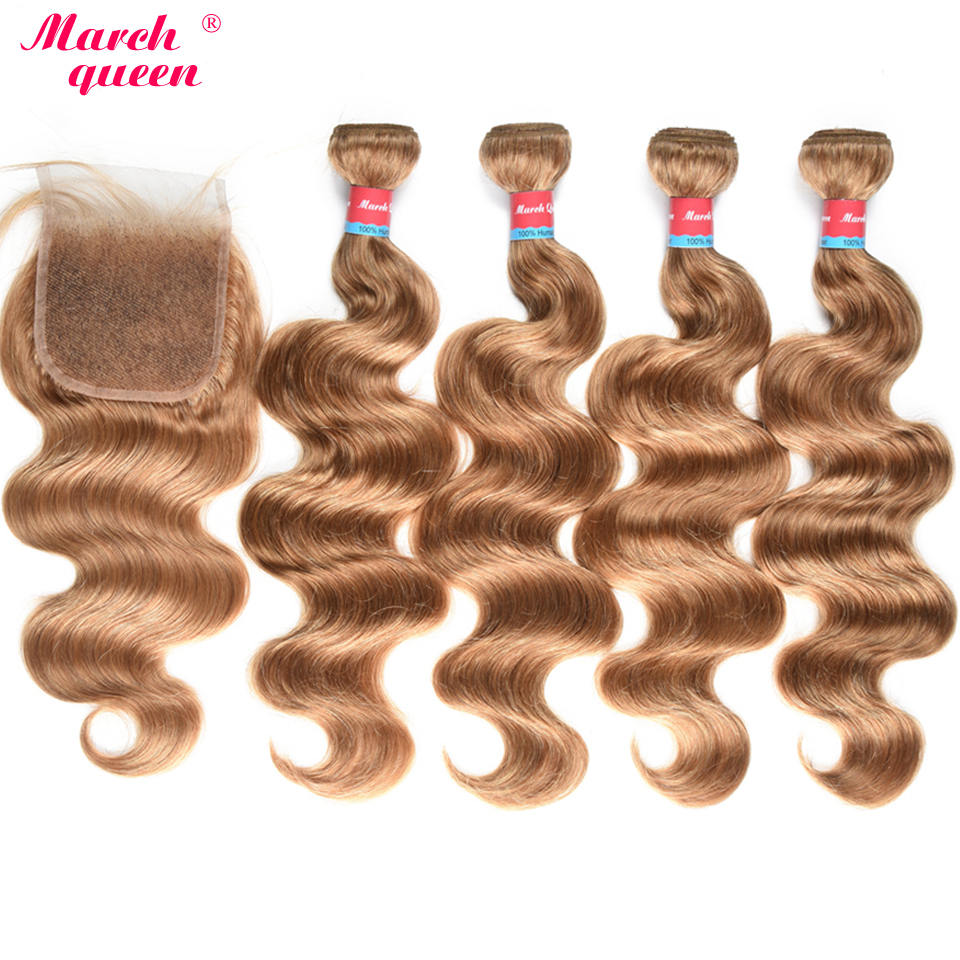 March Queen Peruvian Bundles With Closure #27 Honey Blonde Body Wave 4 Bundles With Closure 100% Human Hair Weave Double Weft