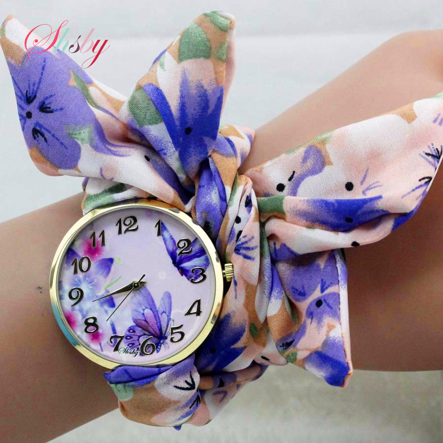 shsby dames vlinder orchidee bloem doek polshorloge mode vrouwen jurk horloge zijdeachtige chiffon stof horloge armband horloge