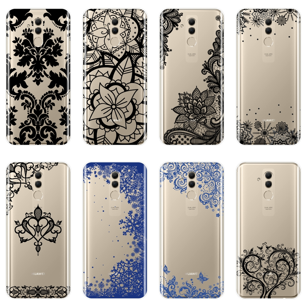 TPU Phone Case For Huawei <font><b>Mate</b></font> <font><b>20</b></font> 10 9 Pro Soft Silicone Aesthetic Lace <font><b>Sexy</b></font> Flower Back Cover For Huawei <font><b>Mate</b></font> 7 8 9 10 <font><b>20</b></font> Lite image
