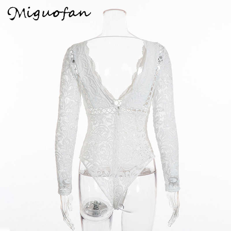 1524661842c0 ... Miguofan Women Sexy White Lace Bodysuit Rompers Boho Hollow Out Long  Sleeve Embroidery Deep V- ...
