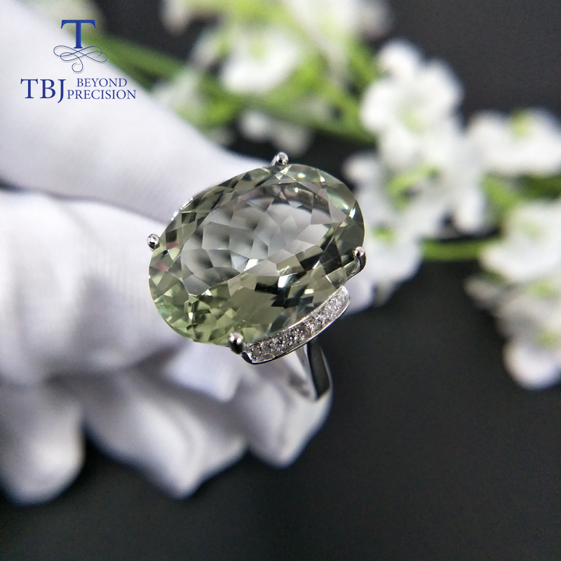 TBJ,green Amethyst Ring,prasiolite Rings Natural Big Size Gemstone Oval 13*18mm 925 Sterling Silver Fine Jewelry For Girls Gift