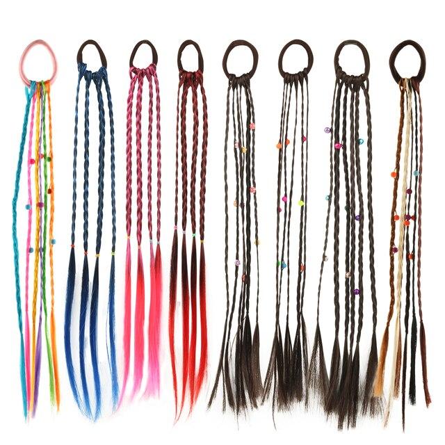 1 PIECE Wig Elastic Hair Band Girls Hair Accessories Hair Tie Colorful Twist Braid Rope Bell Design Children Headband Headwear