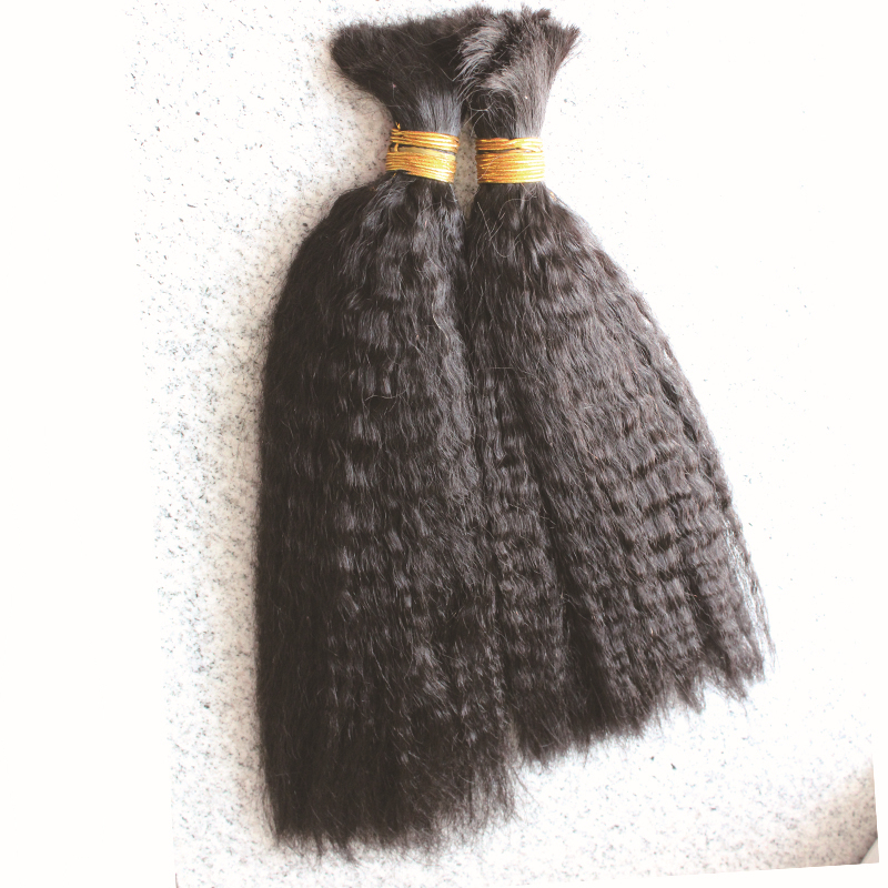 Double Drawn Brazilian Virgin Human Hair Bulk Braiding Hair Coarse Kinky Yaki Straight Hair Bulk No Weft 100g/pc 1pc