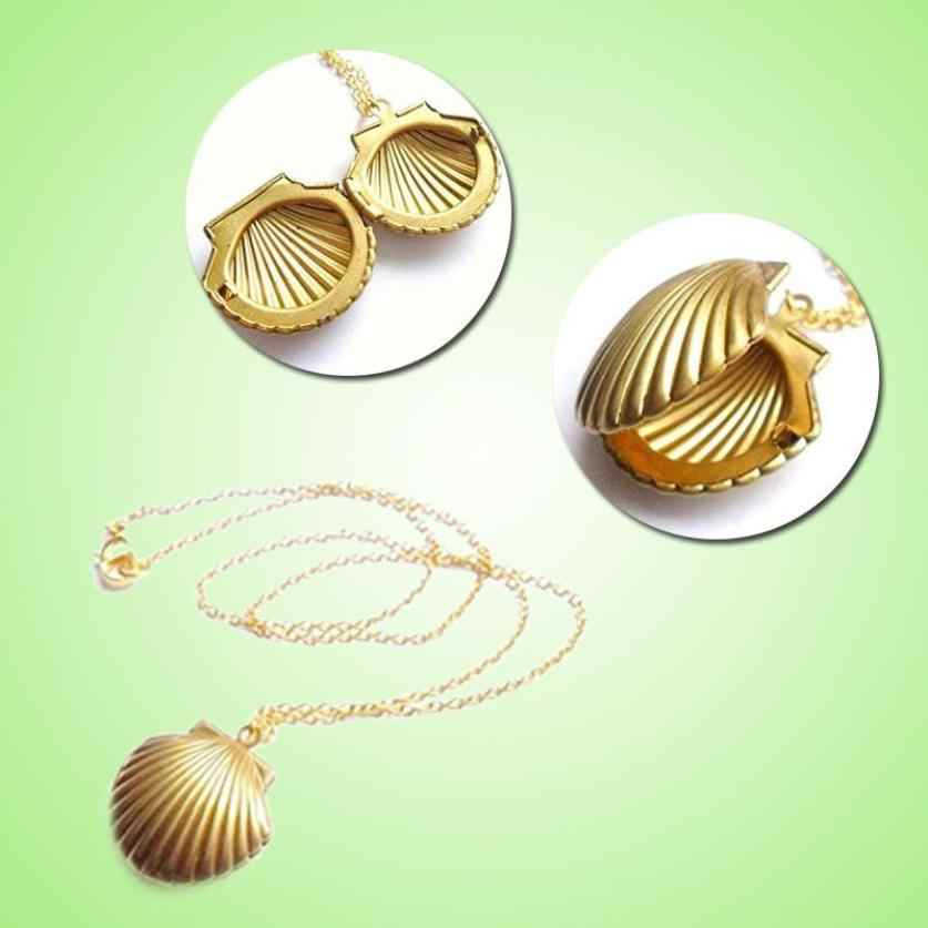 Seashell จี้สร้อยคอทองจี้ทองเหลือง Sea Shell สร้อยคอเครื่องประดับอุปกรณ์เสริมเครื่องประดับ Choker แรงบิดที่ยอดเยี่ยม