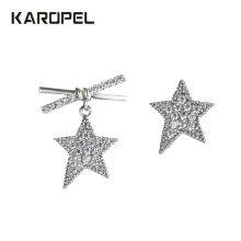 DropShipping Women bowknot CZ Zircon Stud Earrings for Girls Shiny pentagram Star earrings Classic jewelry