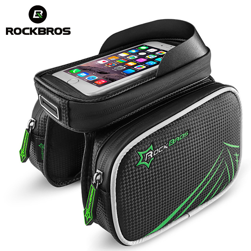 ROCKBROS Bike Bikecle Front Head Top Tube Bag Double IPouch Cycling Pannier for 4.2 / 5.8 / 6 inch Smartphone Touch Screen