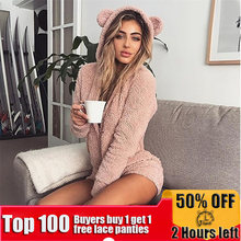 Women Autumn Winter Warm Pajamas Plush Hooded Rabbit Ear Fleece Onesie Jumpsuit Cute Sleepwear Homewear Kigurumi Adult Pajamas(China)