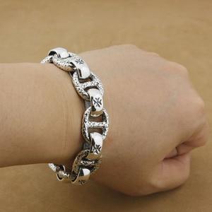 Image 2 - Huge 925 Sterling Silver Handmade Chain Mens Biker Rocker Punk Bracelet 8W006