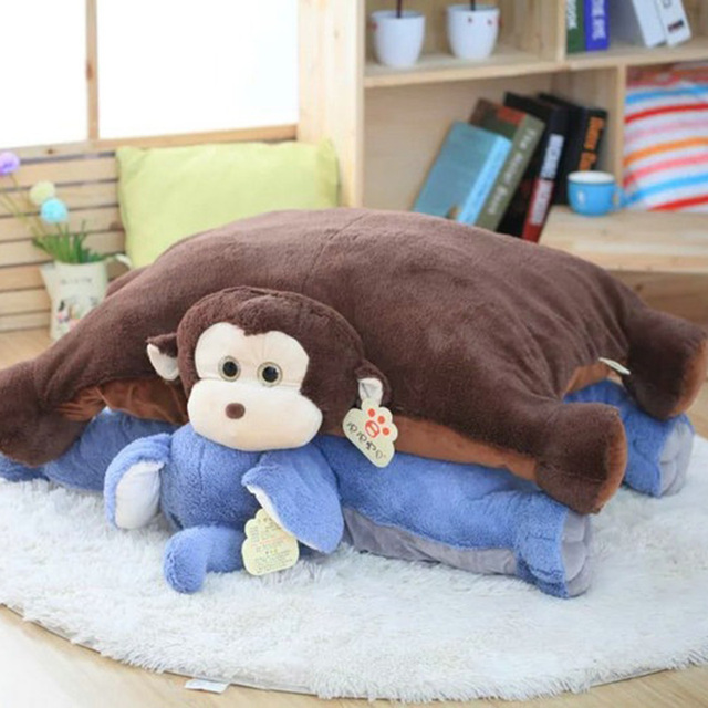 100*75 cm tamanho Grande Colorido Elefante Gigante Macaco de Pelúcia pelúcia Travesseiro Forma Animal Brinquedos Do Bebê