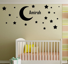 Vinyl Art Removable Custom name Ornament Moon and Stars Kids Boys Girls Wall Sticker Beauty Fashion Home Decoration LY1263-1