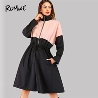 ROMWE Drawstring Detail Contrast Panel Coat 2019 Fashion Women Zipper Pockets Spring Autumn Long Sleeve Knee Length Flared Outer