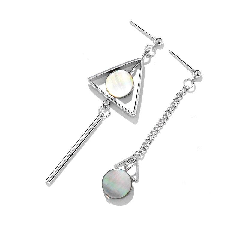 New Asymmetry Geometric Long Stud Earrings For Women Metal Triangle Earring  Fashion Round Color Shells Jewelry brincos-in Stud Earrings from Jewelry ... 5f188bcf73b5