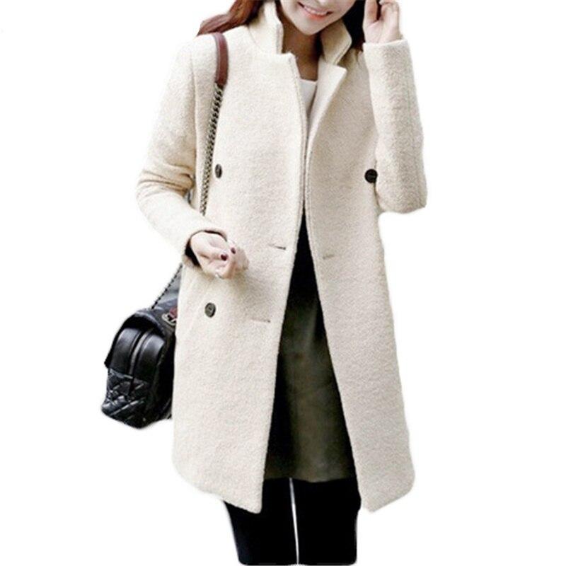 2017 Neue Koreanische Frauen Jacken Winter Woolen Tuch Warme Mantel Zweireiher Beige Dicken Langen Windbreaket Mantel Weibliche L223
