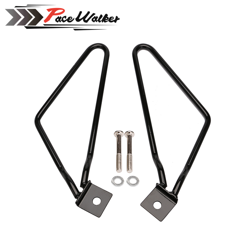 Motorcycle Saddlebag Support Bars Brackets For Harley Sportster 883 Iron XL883N Dyna Fat Bob FXDF brand new silver color motortcycle accessories abs plastic led tail light fit for harley harley iron 883 xl883n xl1200n chopped