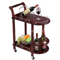 86cm Hotel Dining Cart With Wheels Double Layer Wood Table Wine Cart Beauty Parlour Kitchen Trolleys Side Stand Hotel Furniture