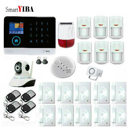 SmartYIBA Touch Keypad 2G WIFI GSM GPRS Switchable RFID card Wireless Home Security Arm Disarm Alarm system APP Remote Control marlboze en ru es pl de switchable wireless home security wifi gsm gprs alarm system app remote control rfid card arm disarm