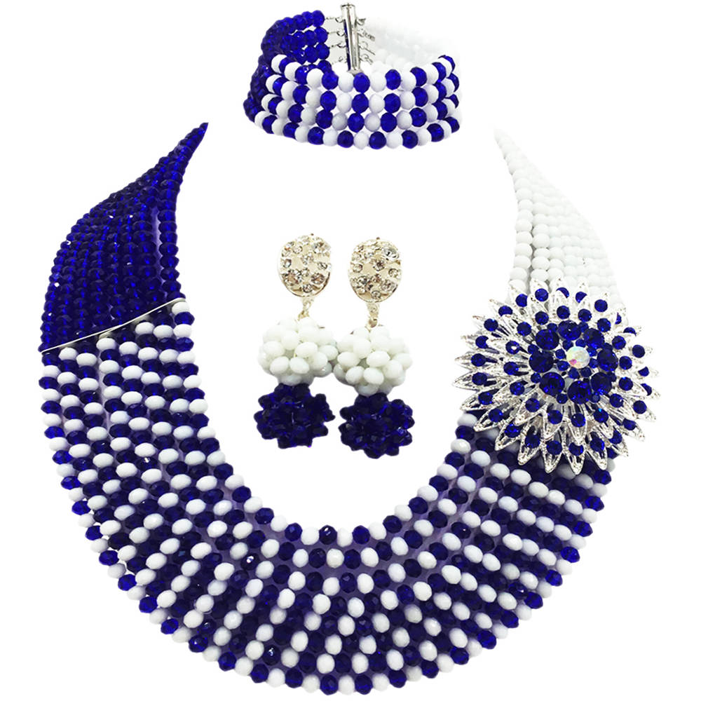 Royal Blue and White African Necklace Beads Jewelry Set Nigerian Wedding Crystal Bridal Party Jewelry Sets 8JBK14Royal Blue and White African Necklace Beads Jewelry Set Nigerian Wedding Crystal Bridal Party Jewelry Sets 8JBK14
