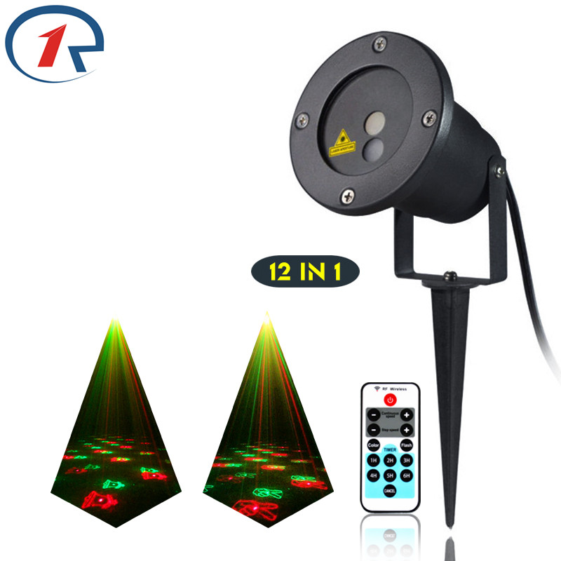 ZjRight IR Remote Christmas 12patterns Red Green laser light outdoor lawn party projection stage light bar dj lights disco light rg mini 3 lens 24 patterns led laser projector stage lighting effect 3w blue for dj disco party club laser
