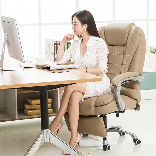 Leather Ergonomic Reclining Swivel Executive Office Chair Computer Chair Lying Lifting Adjustable bureaustoel ergonomisch